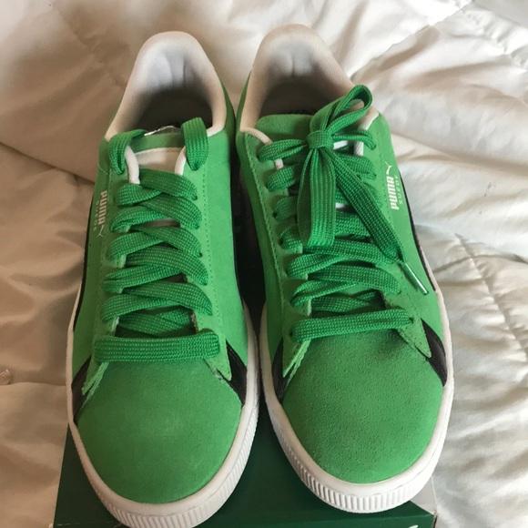 Puma Shoes | Green Suede Pumas | Poshmark